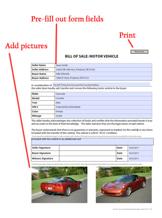 Auto Bill Of Sale  Free Blank Form