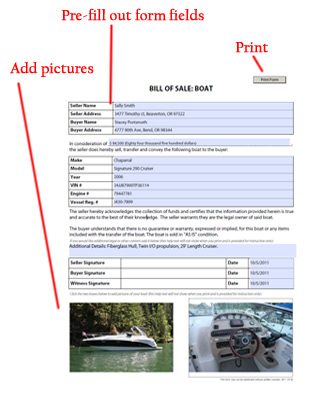 Boat Bill Of Sale  Watercraft