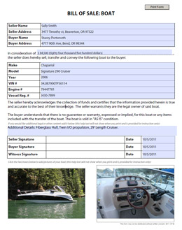 Free Boat Bill Of Sale Form Template
