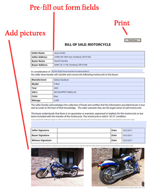 Motorcycle Bill Of Sale  Free Blank Form