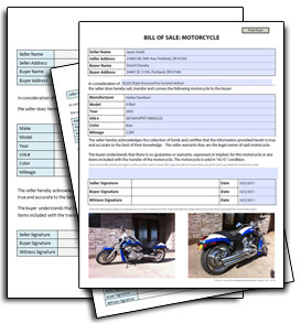 Legal > Motorcycle Bill Of Sale Templates