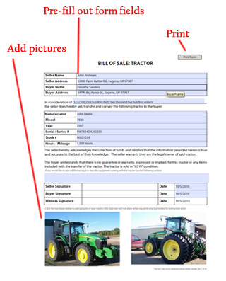 Tractor Bill of Sale - Free Blank Form