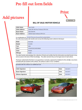 Vehicle Bill Of Sale - Free Blank Form