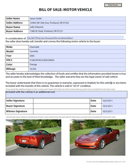 vehicle bill of sale free blank form