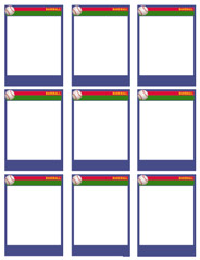 Team size baseball card template